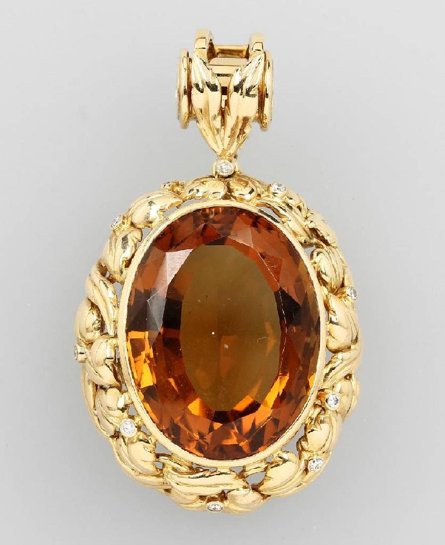 18 kt gold pendant with citrine and brilliants
