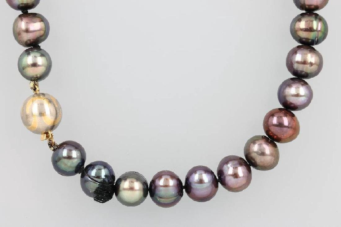 Necklace with cultured pearls, YG/WG 750/000