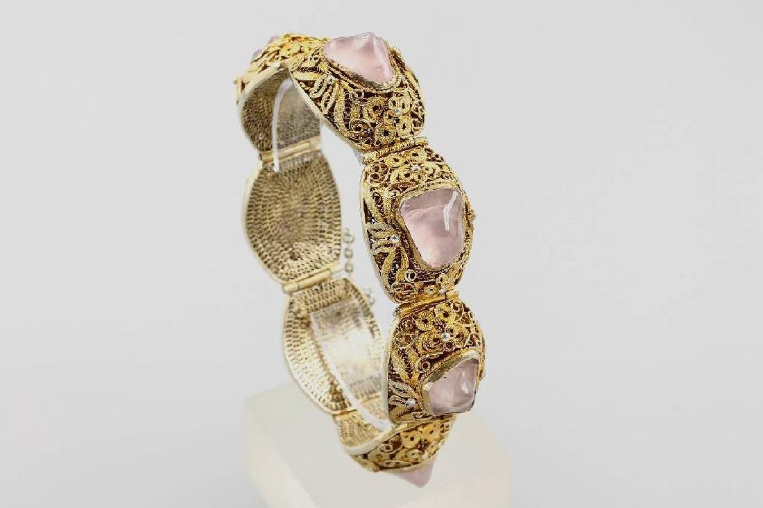 Bracelet with rose quartz, China approx. 1960