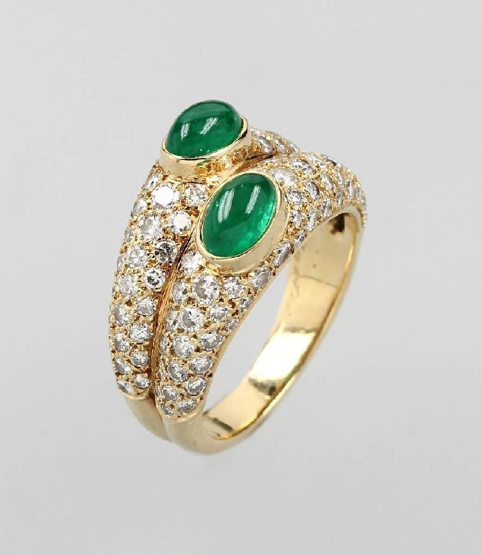 18 kt gold CARTIER ring with emerald and brilliants