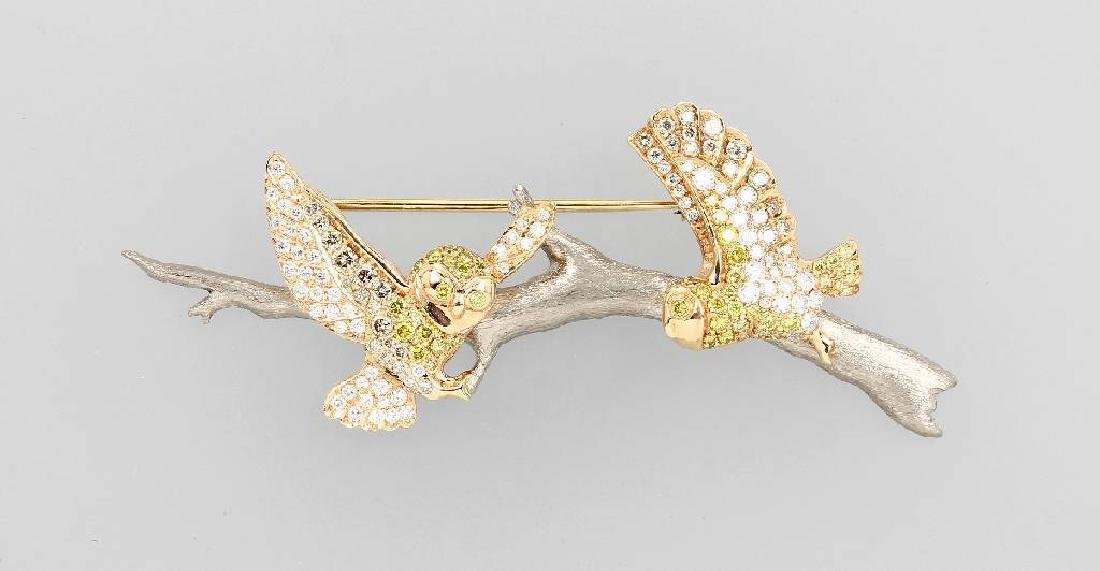 18 kt gold brooch 'owls on branch' with brilliants