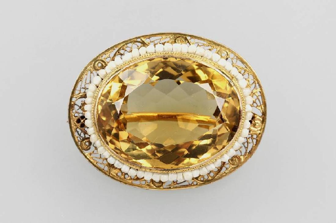 14 kt gold brooch with citrine