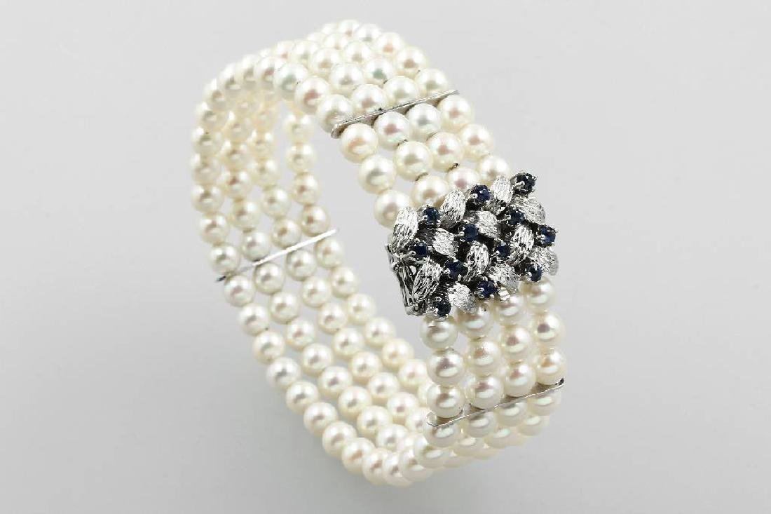 14 kt gold bracelet with pearls and sapphires