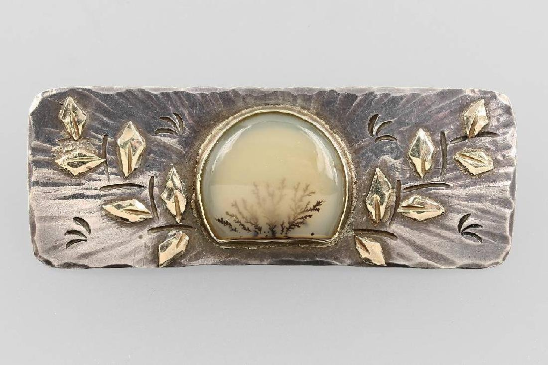 Silver brooch with moss agate