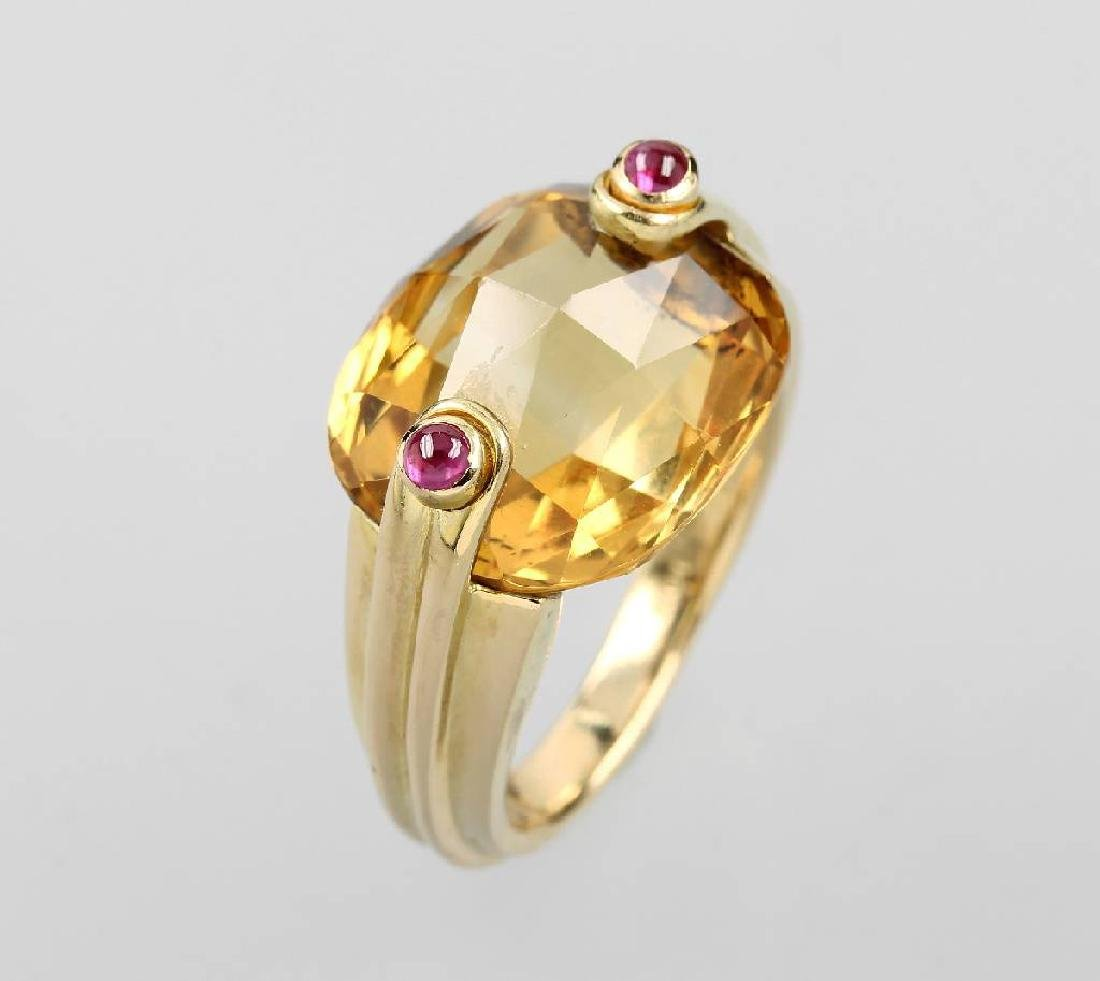ANTONINI ring with citrine and rubies