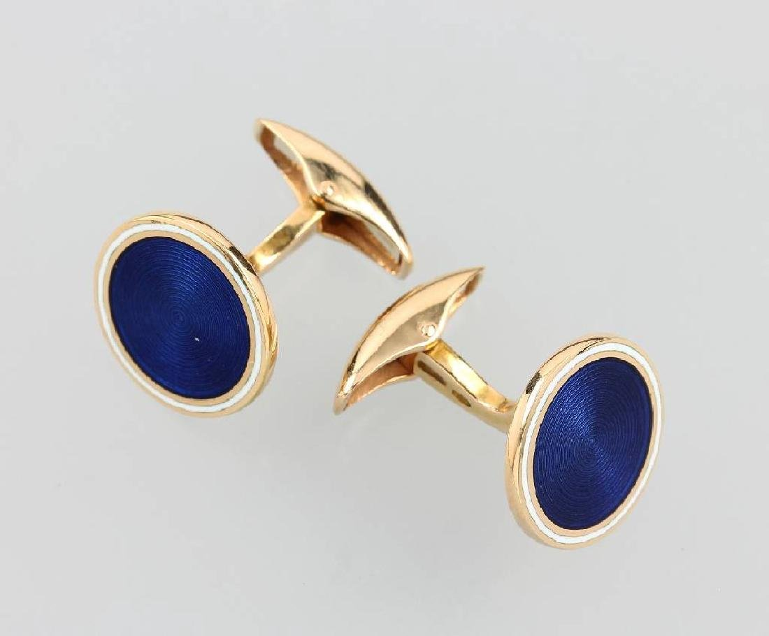 Pair of 18 kt gold cuff links with enamel