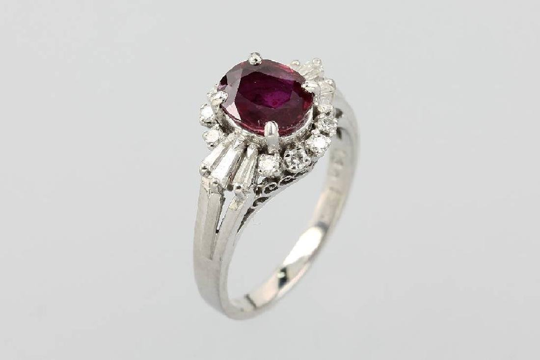 Platinum ring with ruby and diamonds