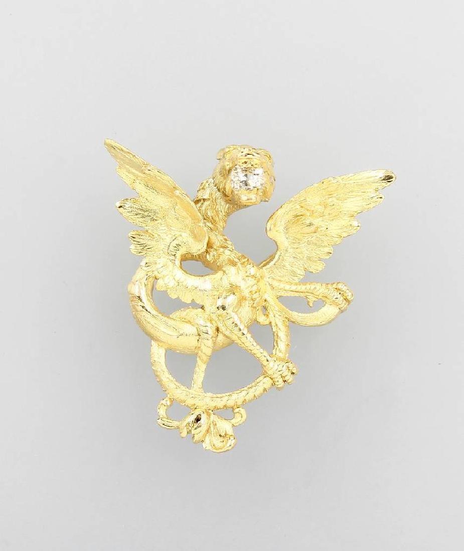 18 kt gold brooch 'dragon' with diamond