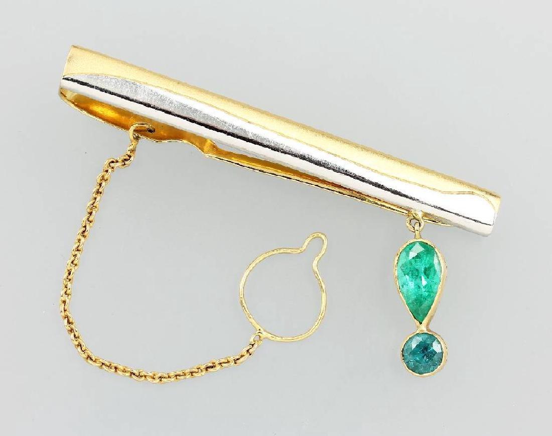 18 kt gold tie clamp with brasil. paraiba tourmalines