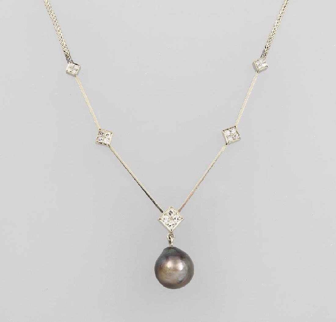 14 kt gold necklace with cultured tahitian pearl and