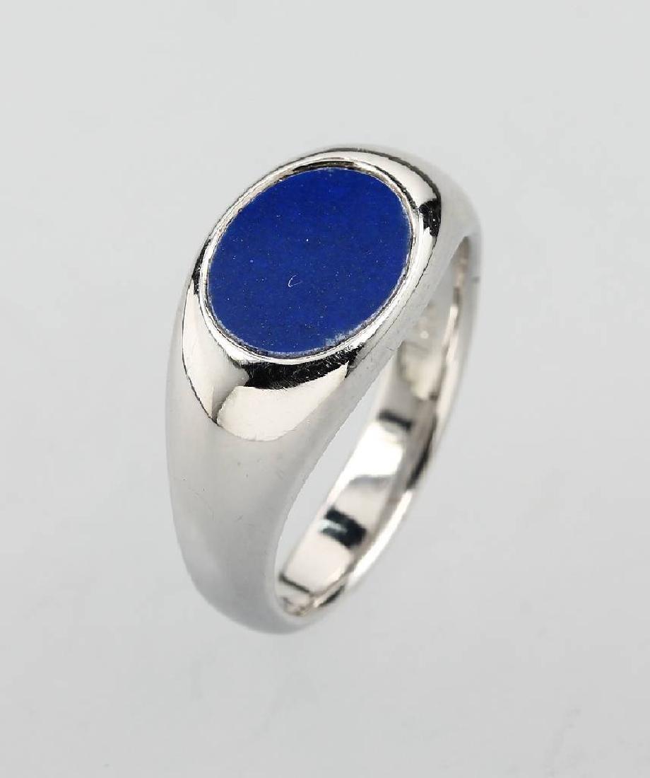 18 kt gold signet ring with lapis lazuli