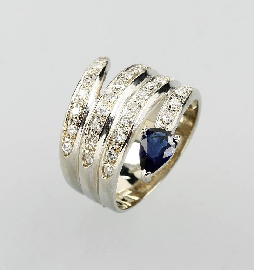 18 kt gold ring head with sapphires and brilliants