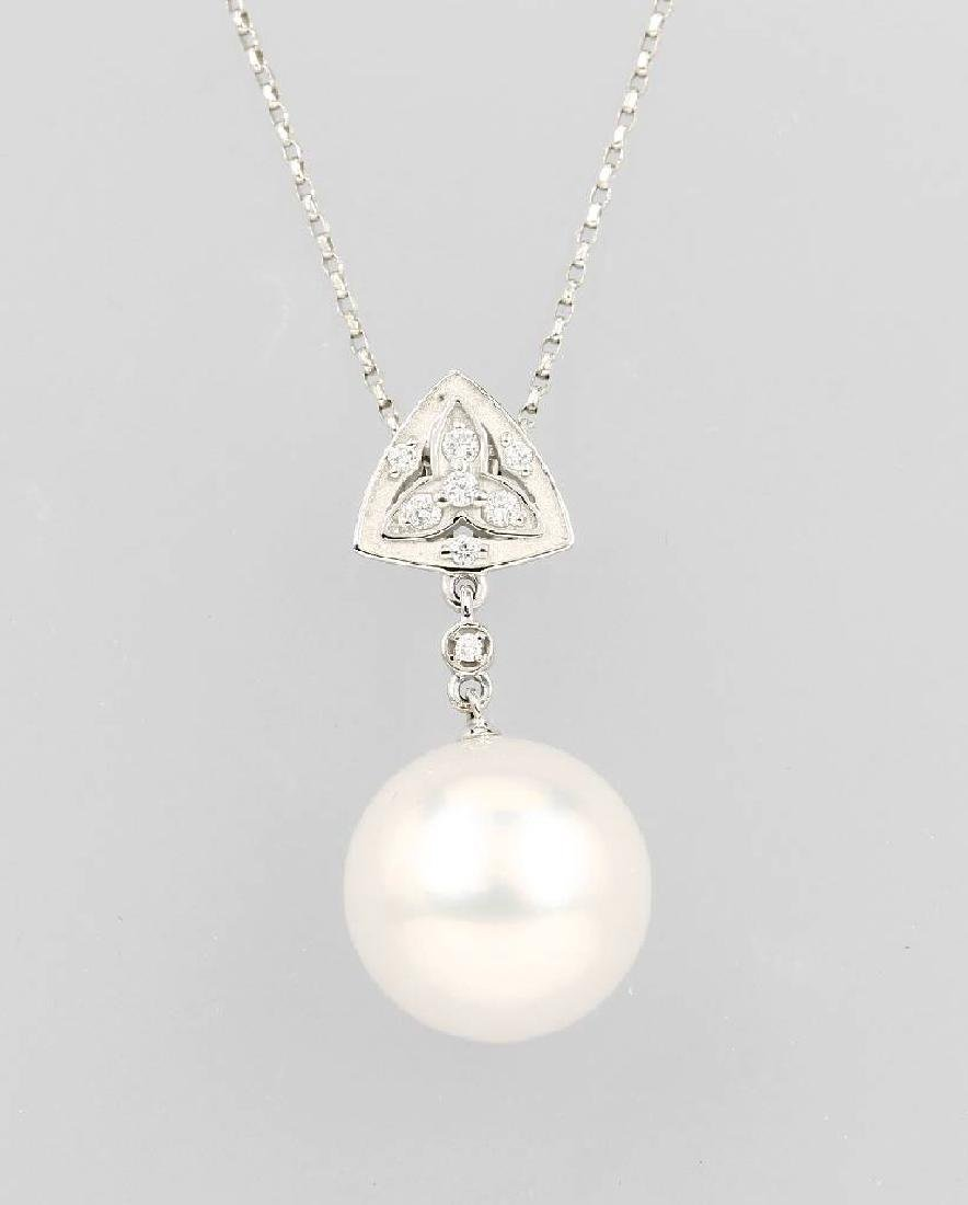 18 kt gold necklace with fresh water cultured pearl and