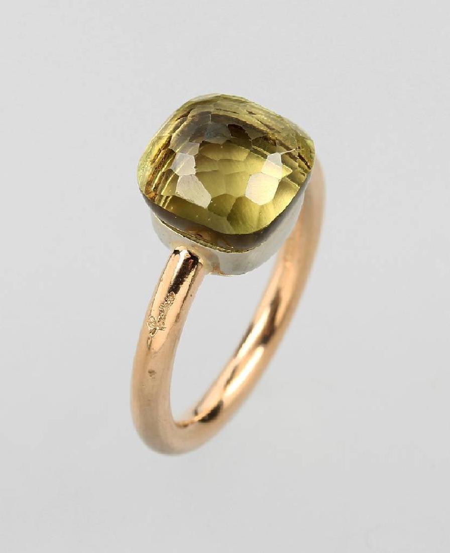 18 kt gold POMELLATO ring with lemonquartz