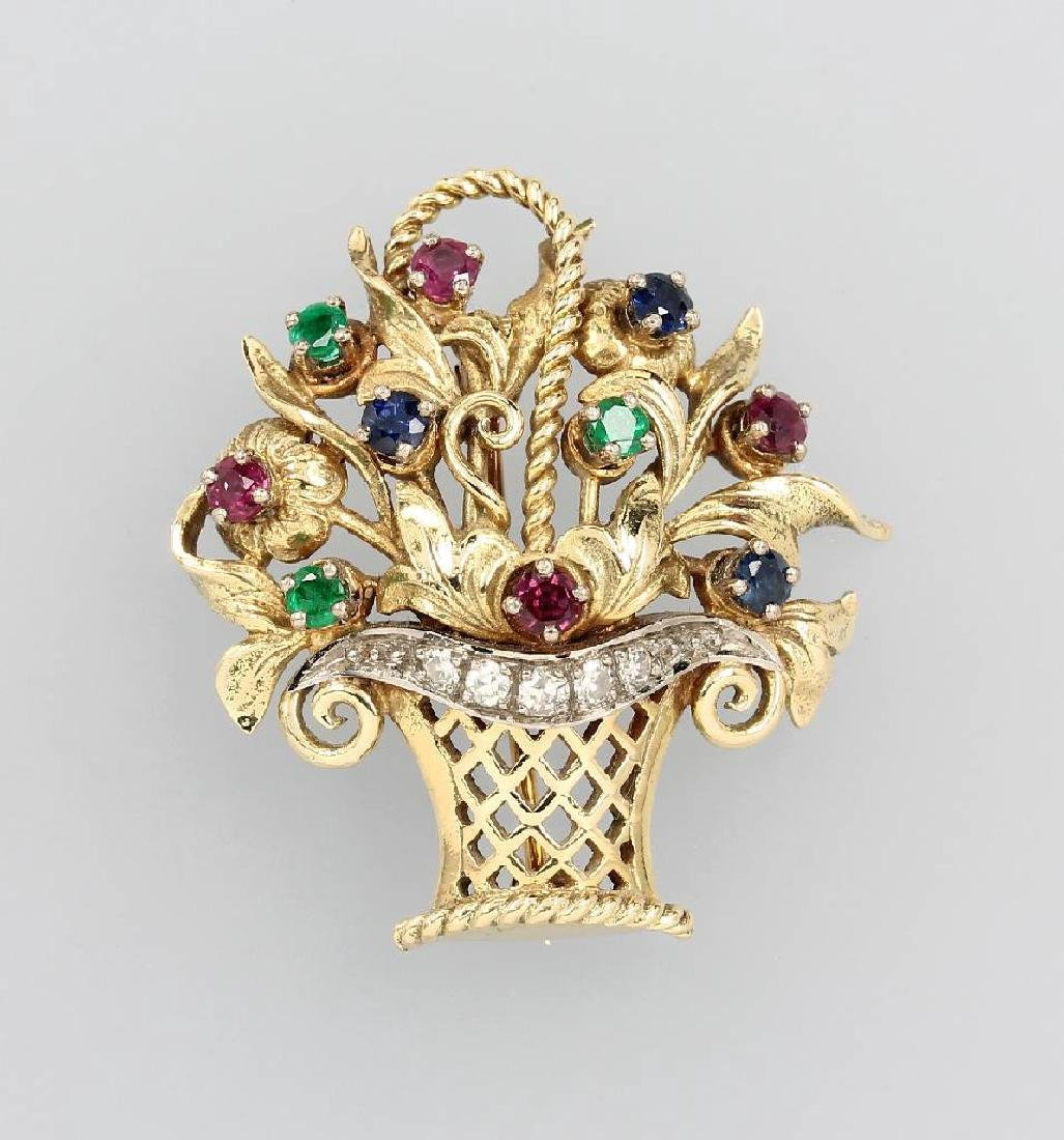 Brooch 'bouquet of flowers' with coloured stones and