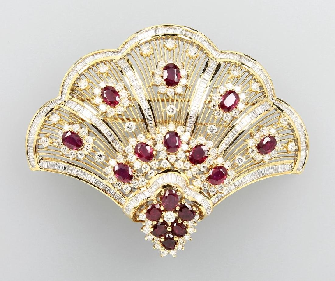 18 kt gold brooch/pendant with diamonds and rubies