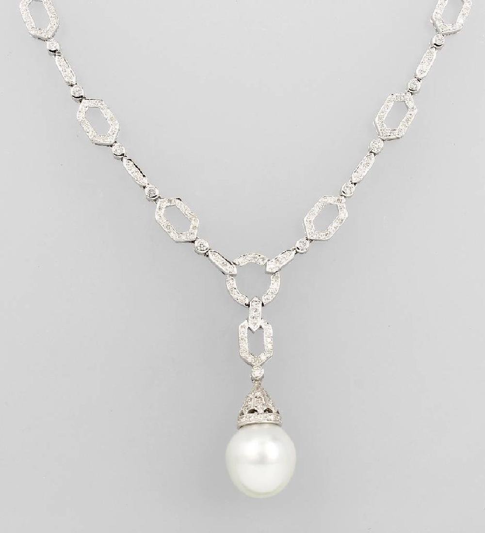 18 kt gold necklace with cultured south seas pearl and
