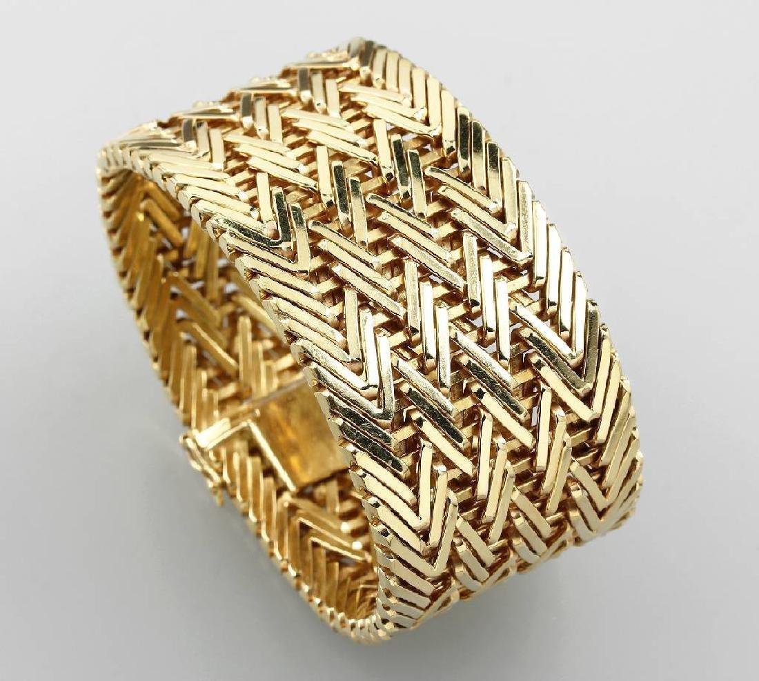 18 kt gold wide bracelet