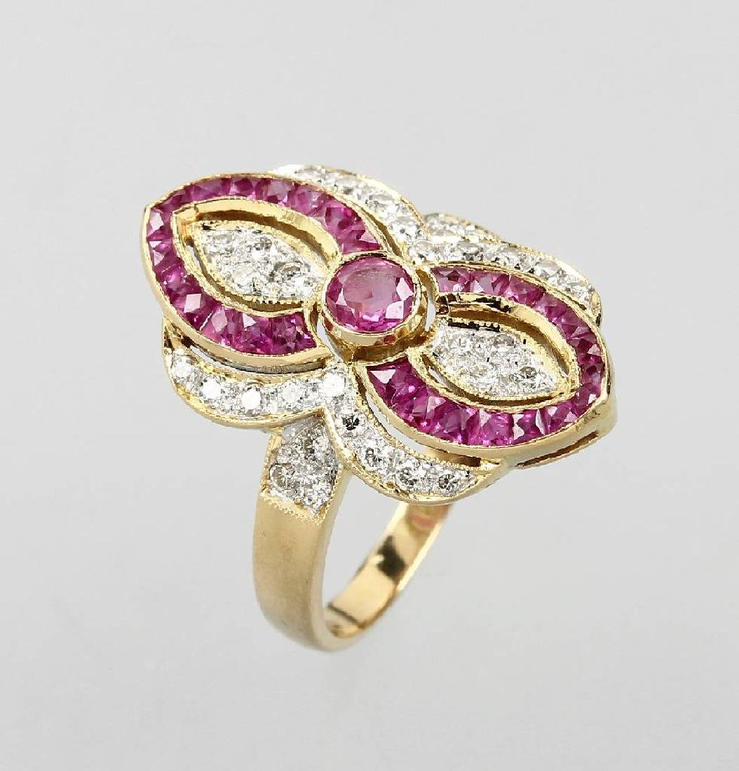 18 kt gold ring with brilliants and rubies