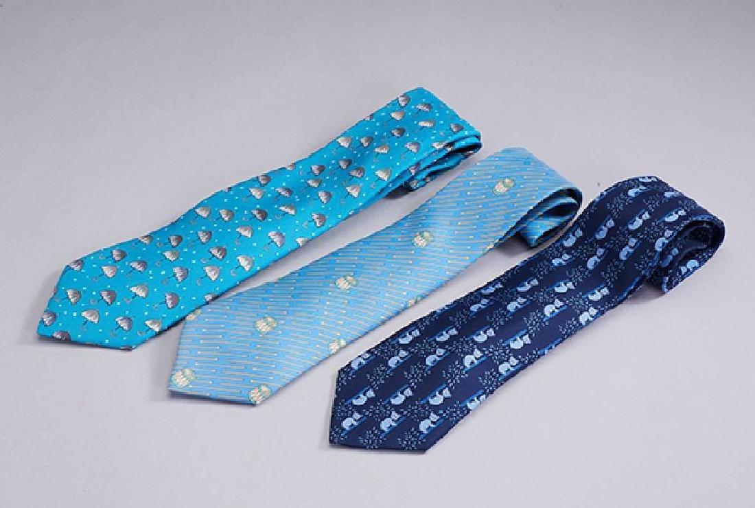 Lot 3 HERMES ties, 100 % silk, Made in France