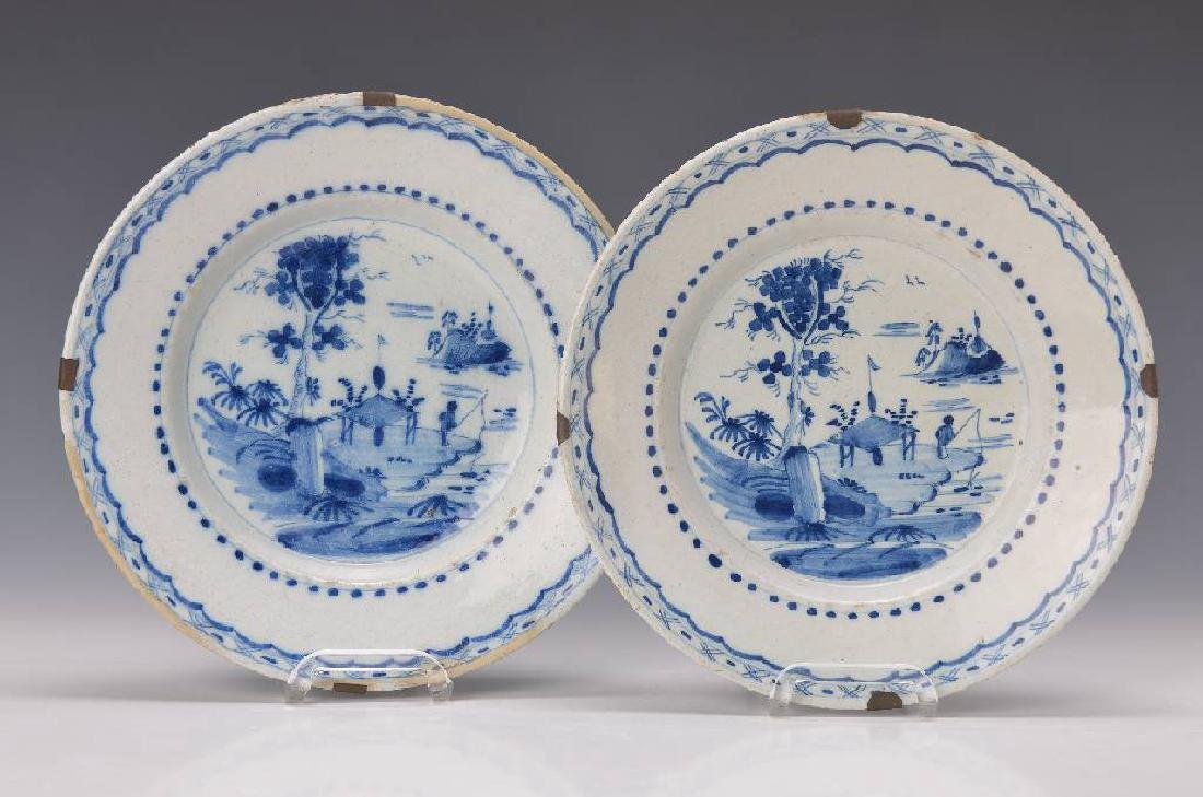 pair of faience plates
