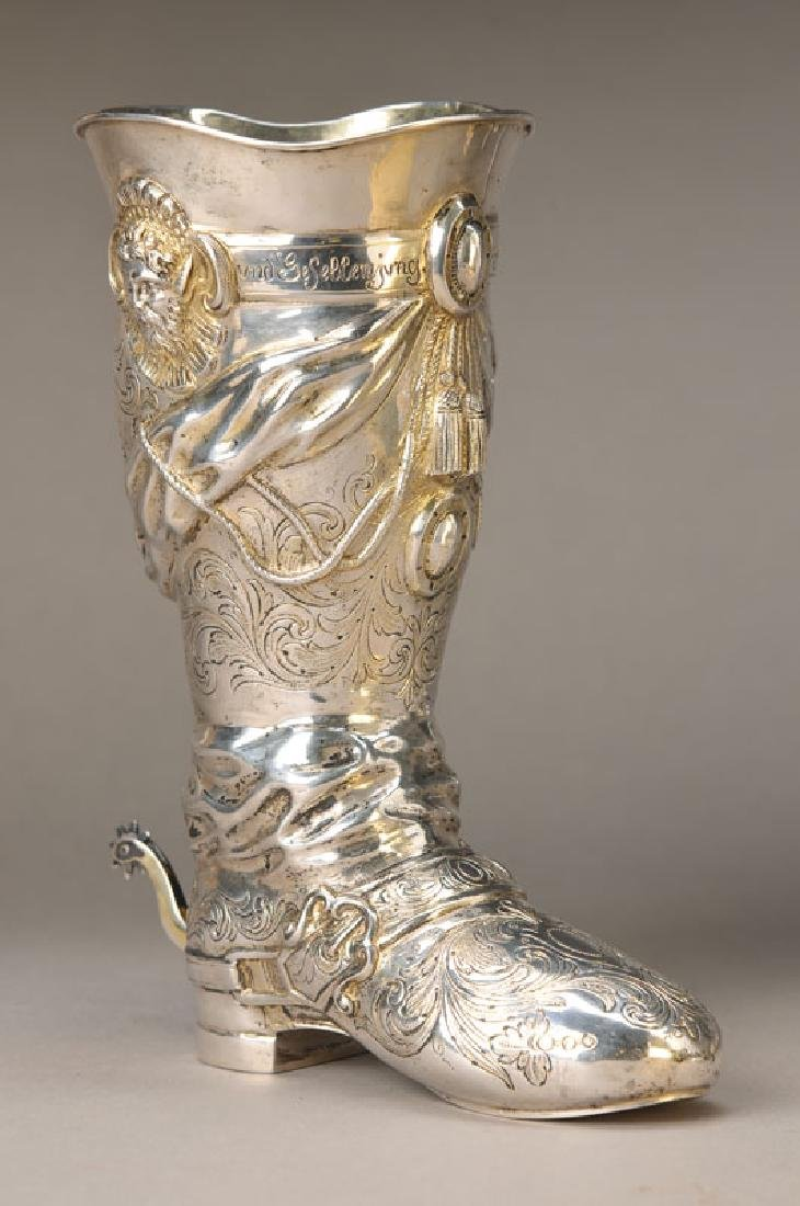 Large silver boot