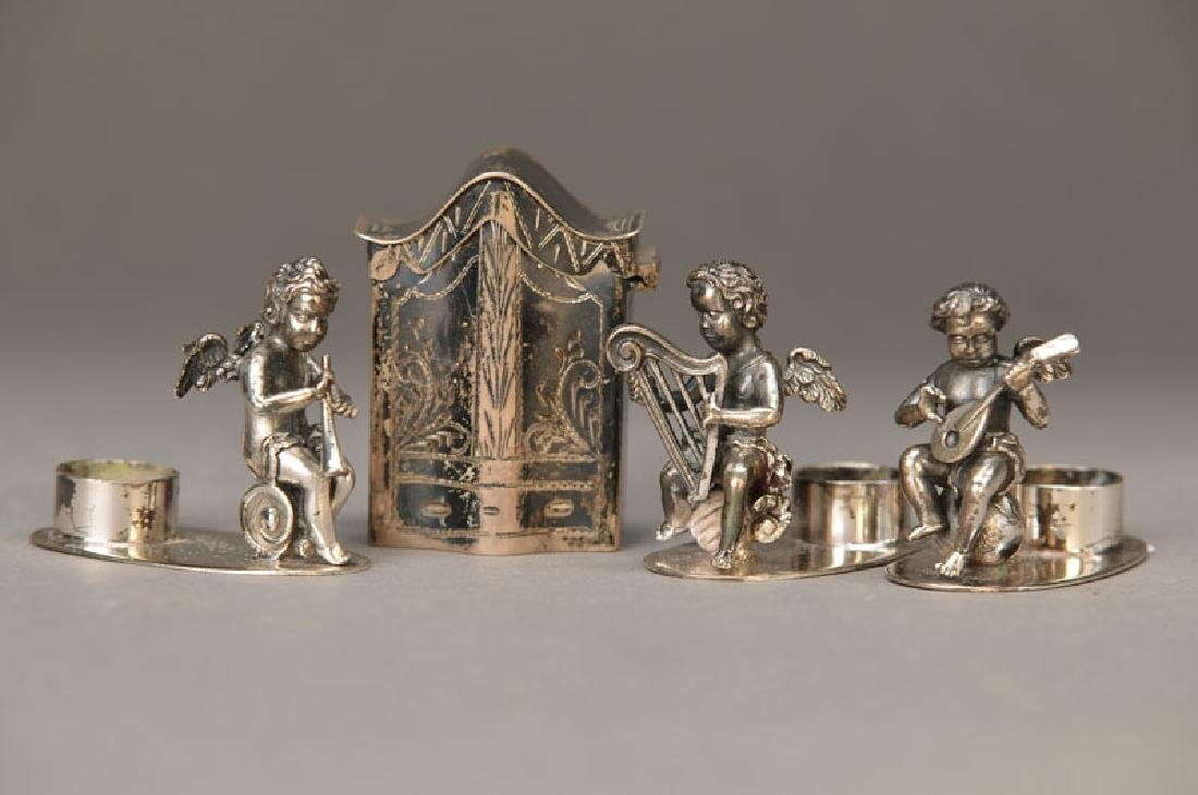 small silver Candlesticks and small miniature