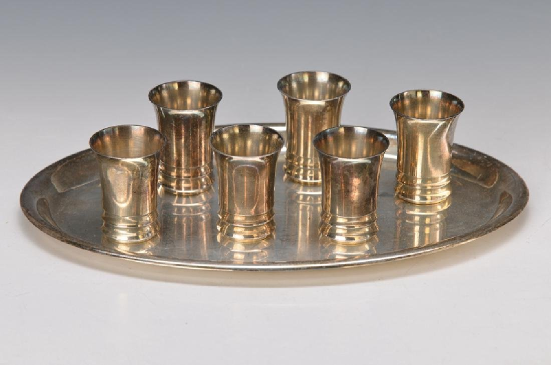tray with six beakers