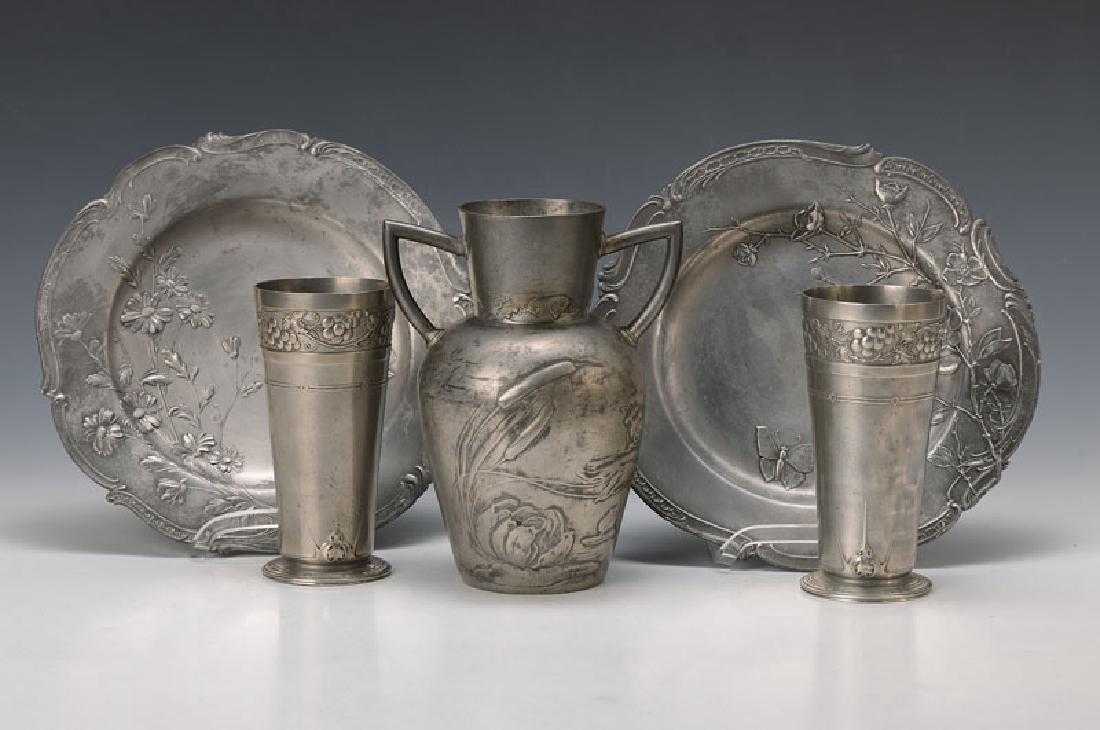 5 pieces tin, Art Nouveau