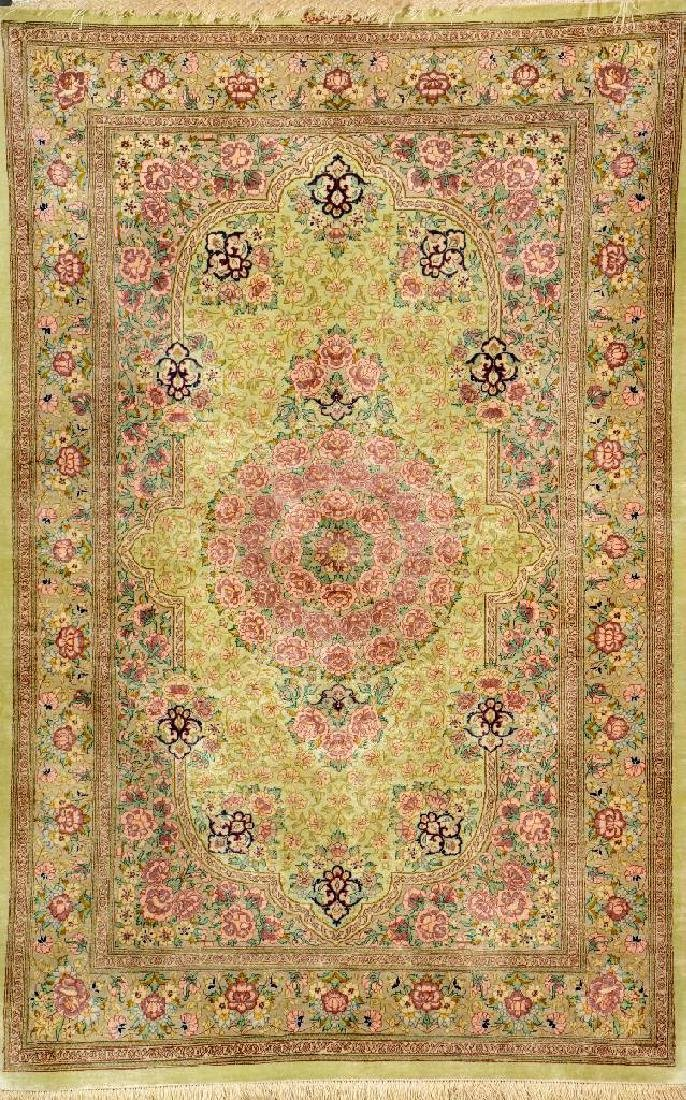 Fine Green Silk Qum Rug (Signed),