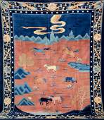 Unusual Fine Chinese PictorialCarpet 8 Holy Horses