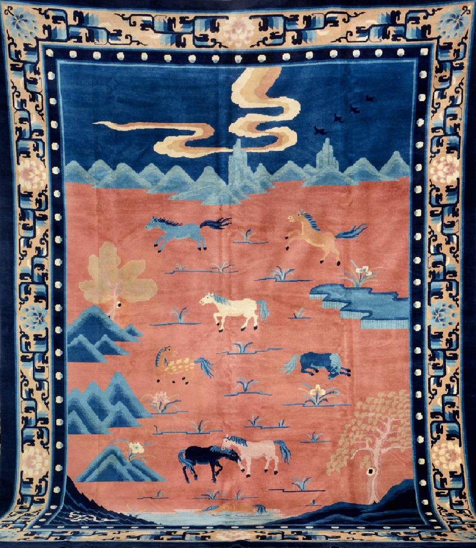 Unusual Fine Chinese 'Pictorial-Carpet' (8 Holy Horses