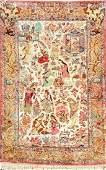 Fine Silk Qum Pictorial Rug Story Of Khosrow