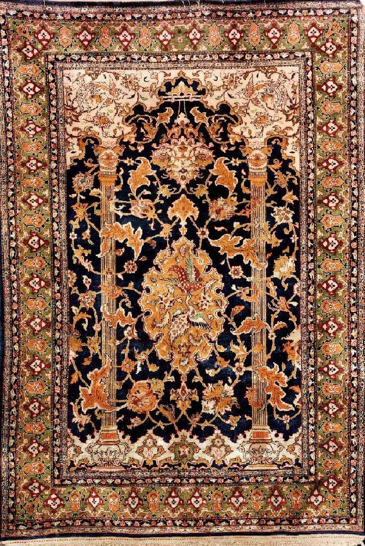 Silk Qum Rug (Paradise-Column Design),