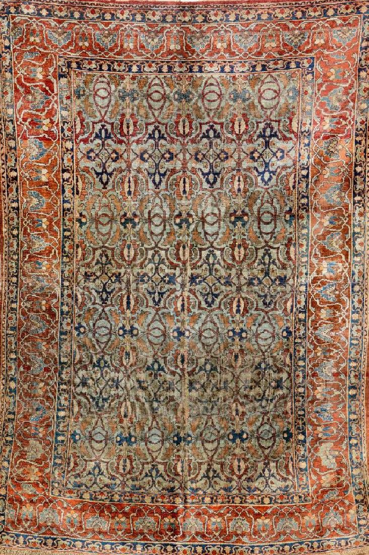 Early Silk Heriz Rug,