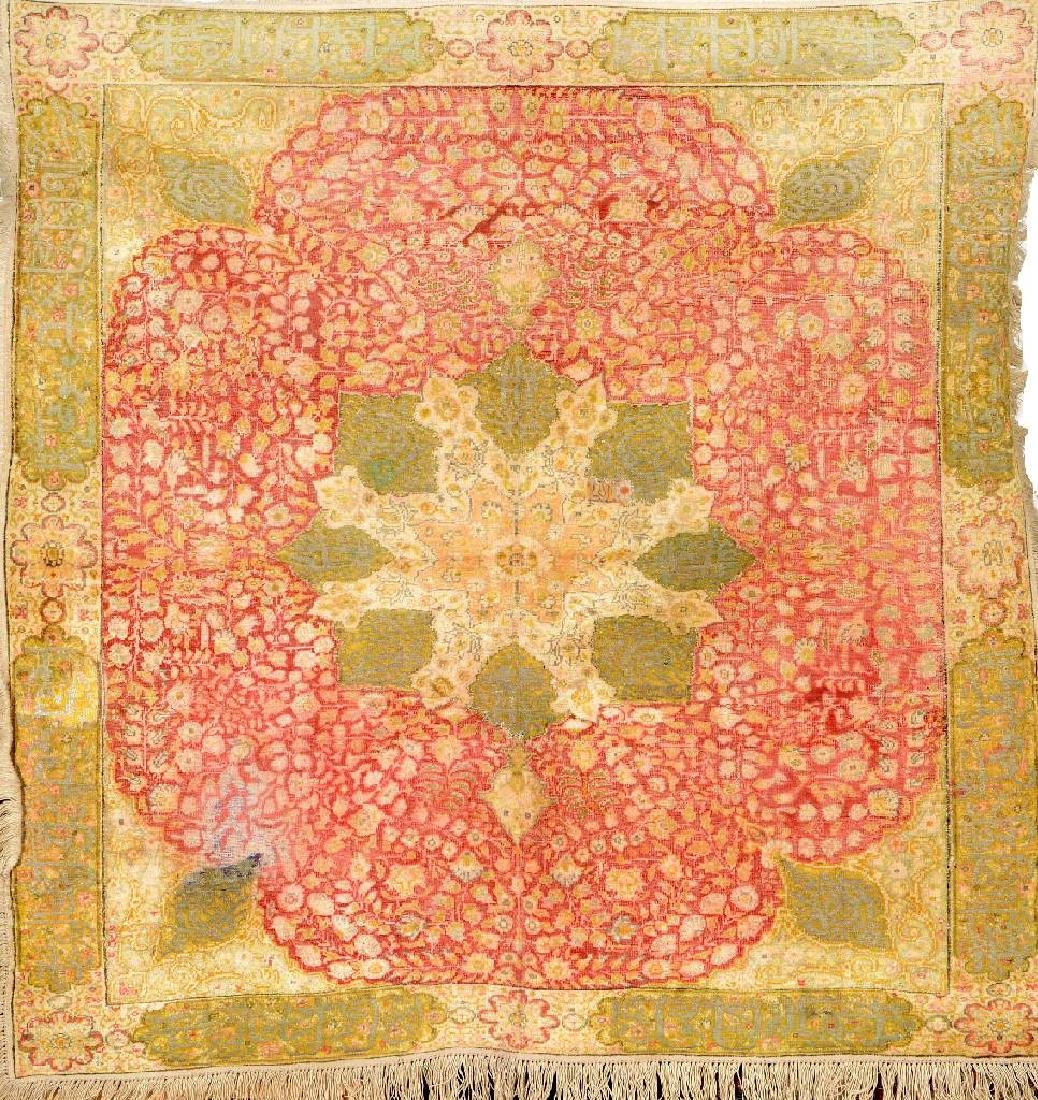 Silk & Metal-Thread Kaisery-Flosh 'Square Rug',