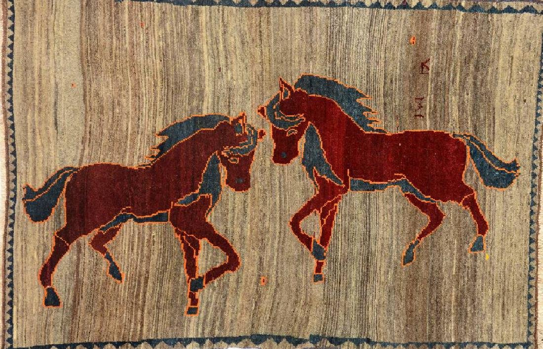 Gabbeh Rug (Horse Motif),