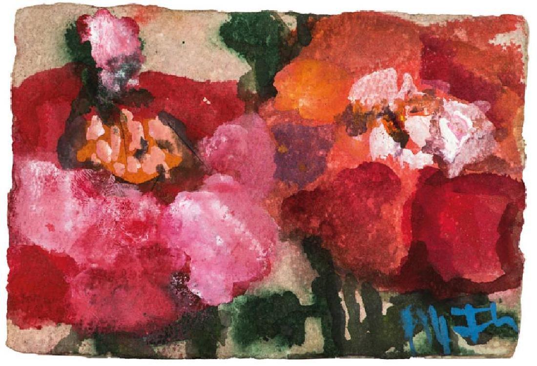 Klaus Fussmann, born 1938 Velbert, roses, watercolor