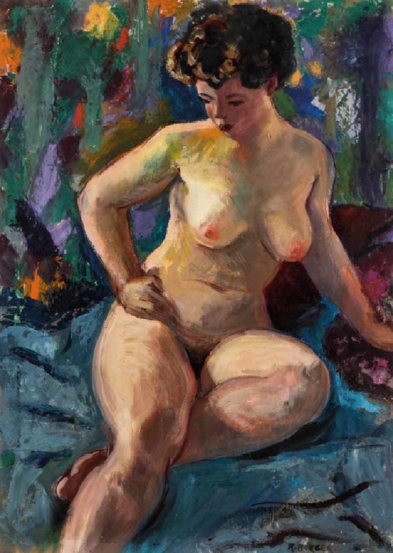 Rudolf Burger, born 1938, sitting nude, oil/paper