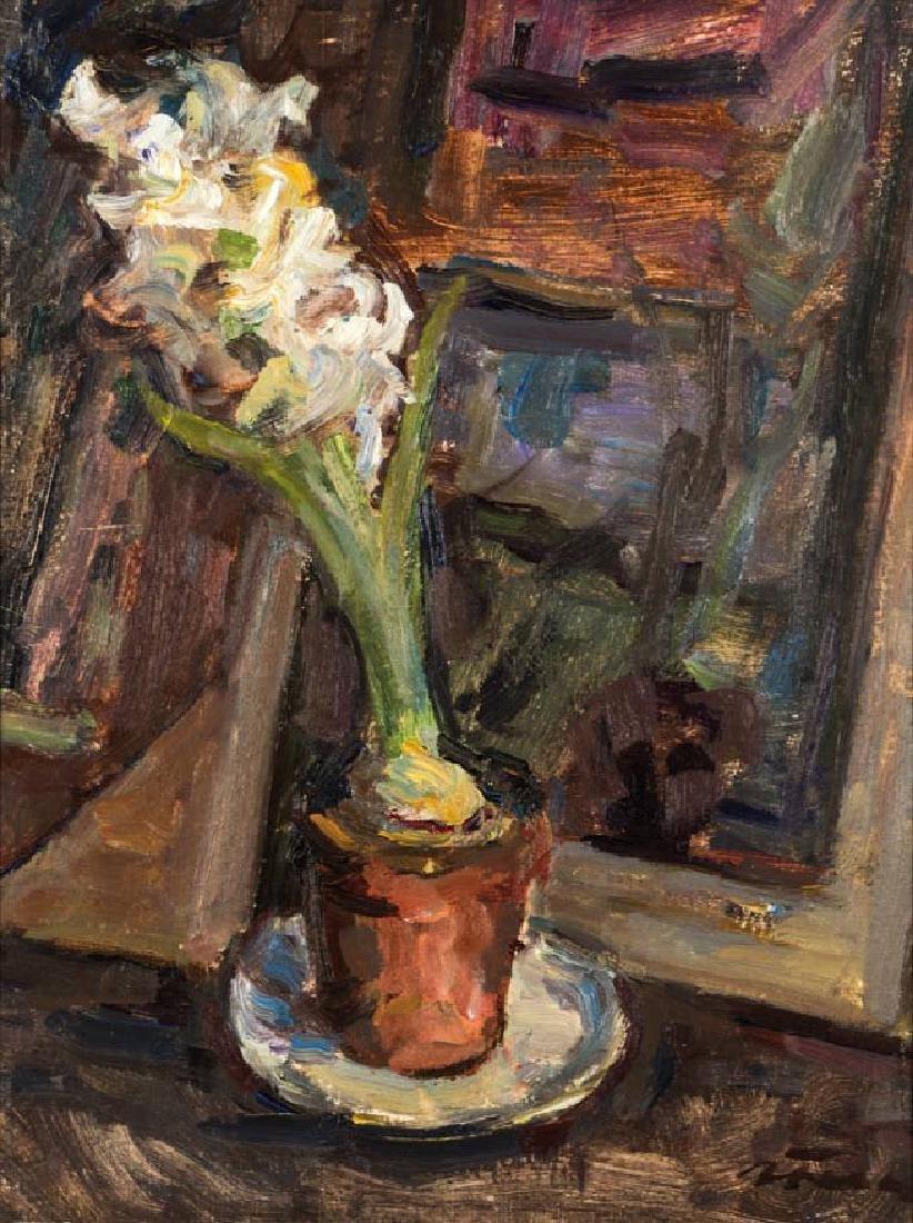 Albert Feser, 1901-1993, hyacinth, oil/board, signed