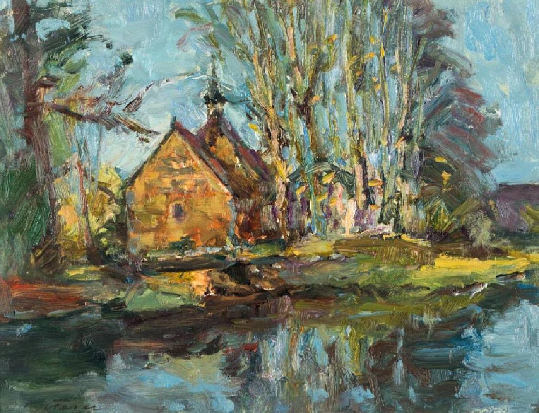 Albert Feser, 1901-1993, Haseldorfer church, oil/board