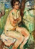 Hans Purrmann, 1880-1966, sitting nude, 1919, oil/wood
