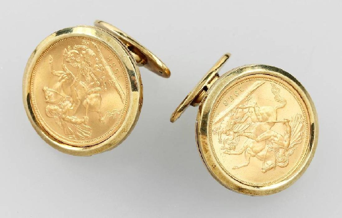 Pair of cuff links with gold coins