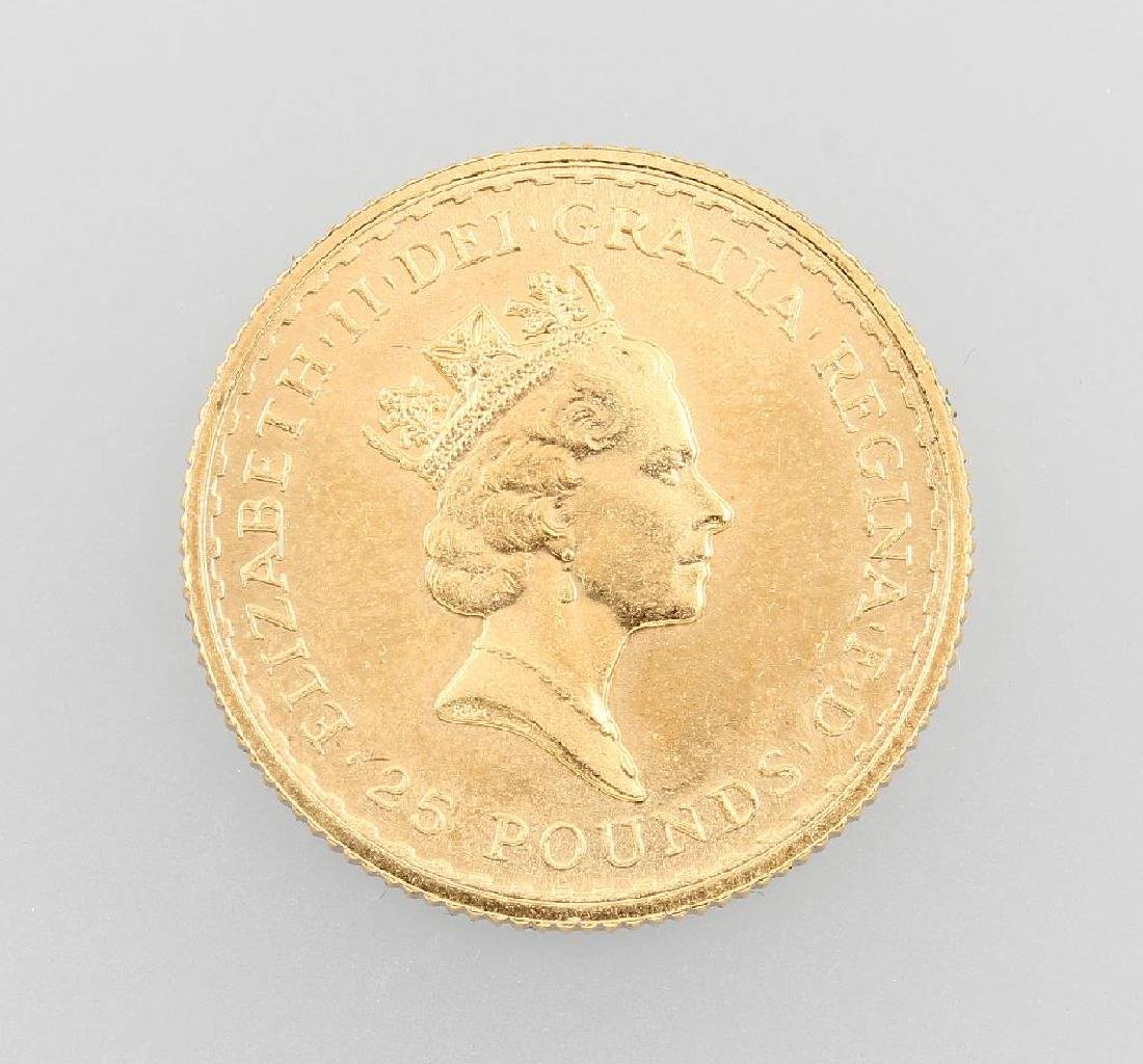 Gold coin, 25 Pounds, Great Britain