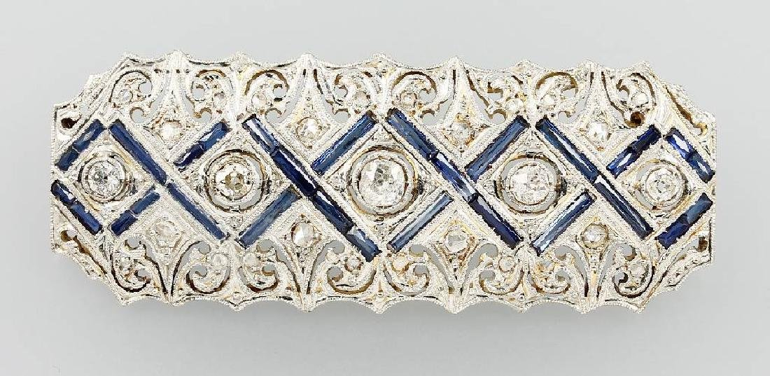 18 kt gold Art-Deco brooch with diamonds and sapphires