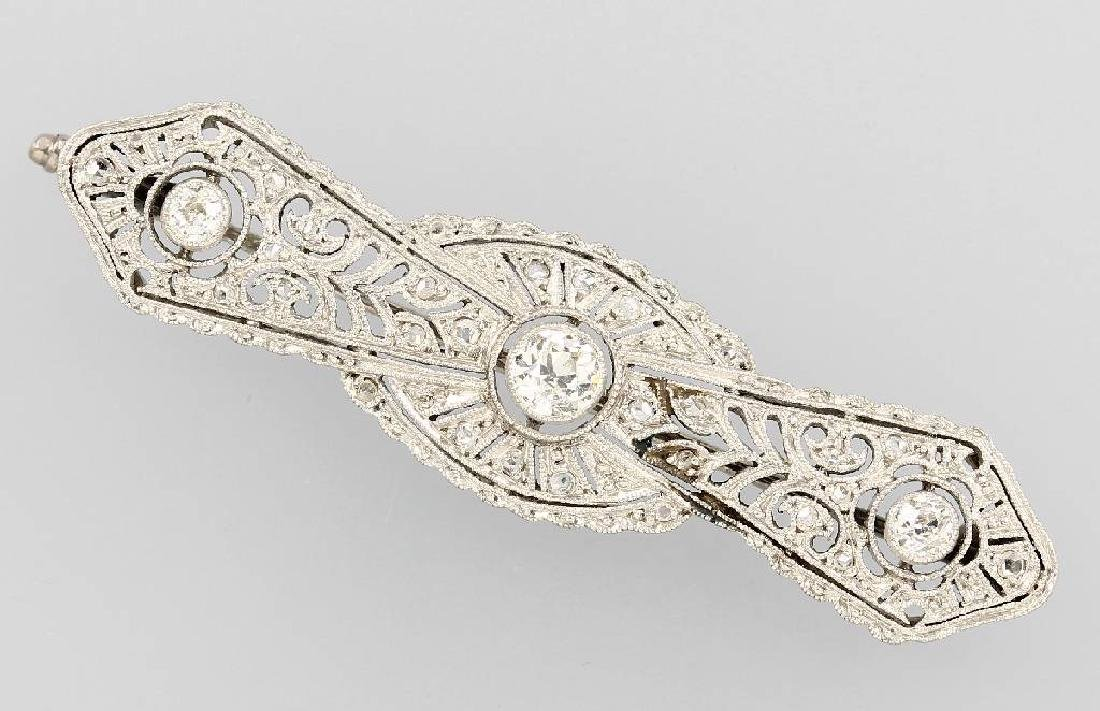 Art-Deco brooch with diamonds, platinum, approx.