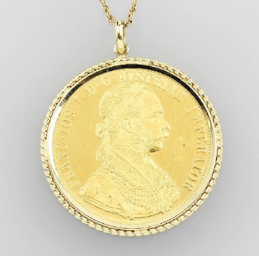 Coin pendant, 4 ducats, Austria-Hungary