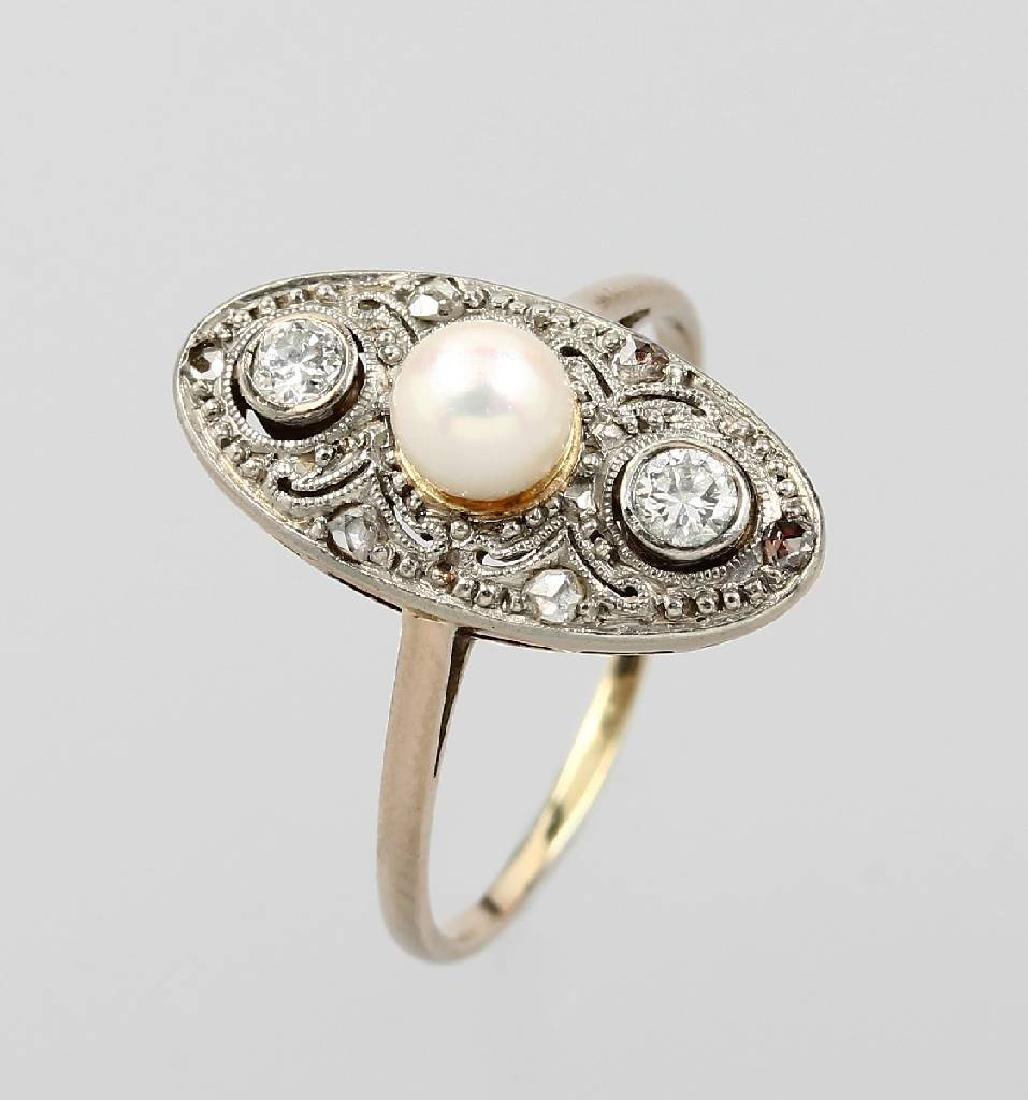 Art-Deco-Ring with pearl and diamonds, german 1930s, YG
