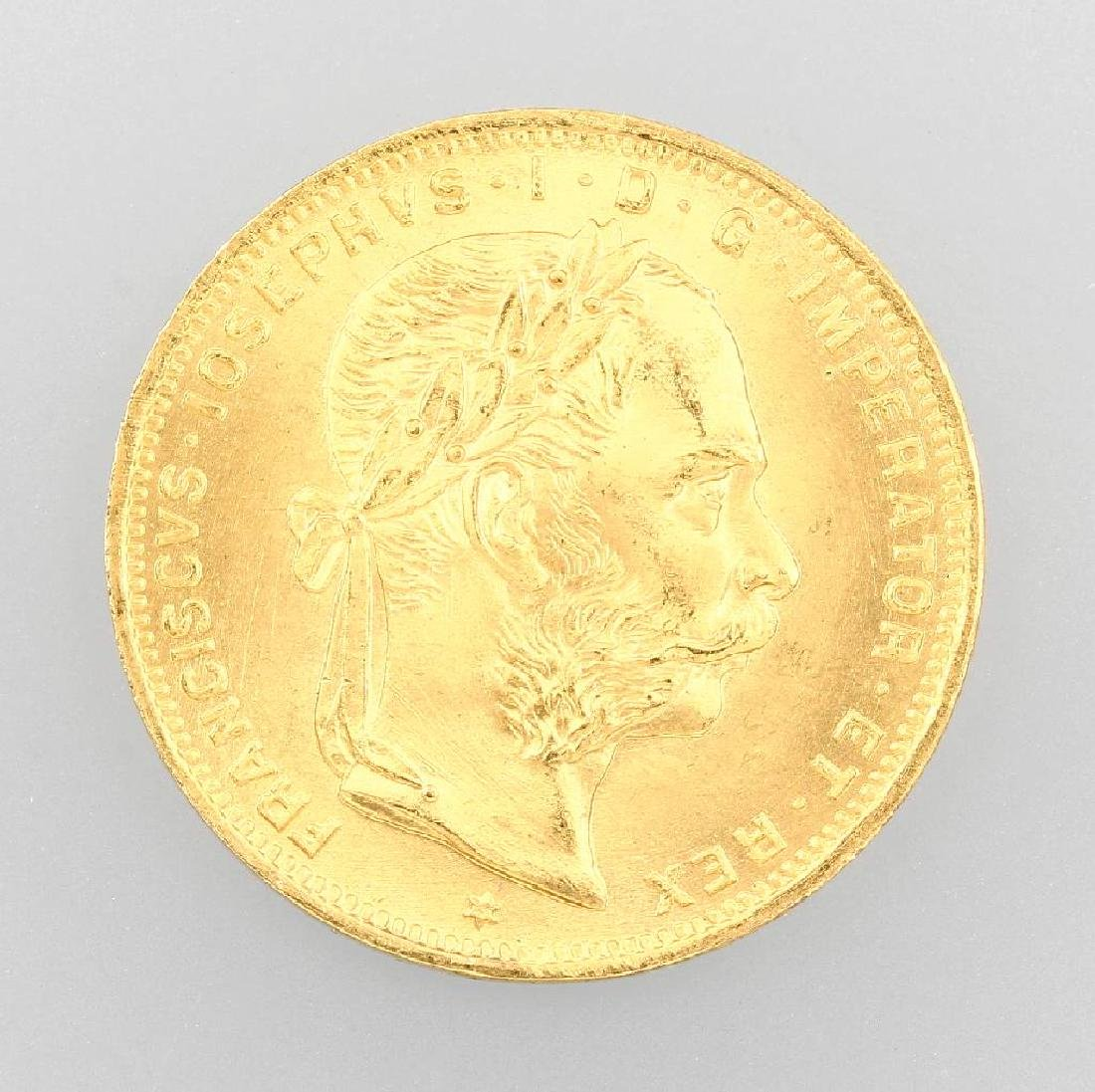 Gold coin, 8 Florin 20 Swiss Francs, Austria- Hungary,