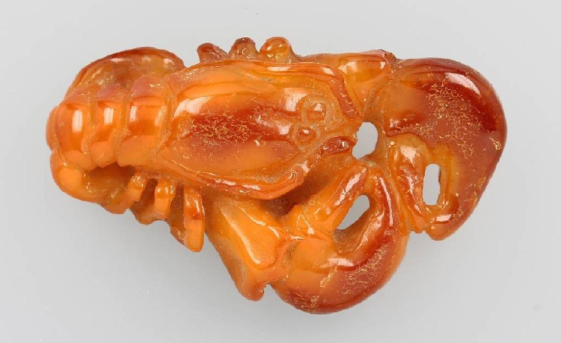 Lobster made of amber, Idar-Oberstein approx. 1930s